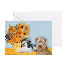 Sunflowers/PBGV8+Wheaten8 Greeting Card