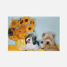 Sunflowers/PBGV8+Wheaten8 Rectangle Magnet