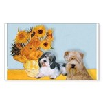 Sunflowers/PBGV8+Wheaten8 Rectangle Sticker