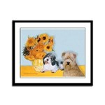 Sunflowers/PBGV8+Wheaten8 Framed Panel Print