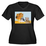 Sunflowers/PBGV8+Wheaten8 Women's Plus Size V-Neck