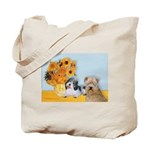 Sunflowers/PBGV8+Wheaten8 Tote Bag
