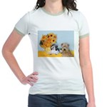 Sunflowers/PBGV8+Wheaten8 Jr. Ringer T-Shirt