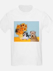 Sunflowers/PBGV8+Wheaten8 T-Shirt
