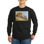 Sunflowers/PBGV8+Wheaten8 Long Sleeve Dark T-Shirt