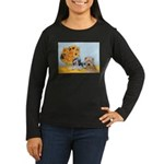Sunflowers/PBGV8+Wheaten8 Women's Long Sleeve Dark