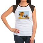 Sunflowers/PBGV8+Wheaten8 Women's Cap Sleeve T-Shi