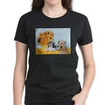 Sunflowers/PBGV8+Wheaten8 Women's Dark T-Shirt