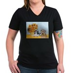 Sunflowers/PBGV8+Wheaten8 Women's V-Neck Dark T-Sh