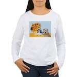 Sunflowers/PBGV8+Wheaten8 Women's Long Sleeve T-Sh