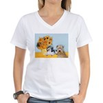 Sunflowers/PBGV8+Wheaten8 Women's V-Neck T-Shirt