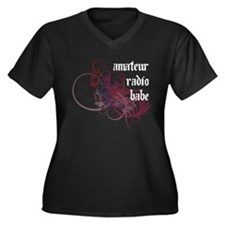 Amateur Radio Babe Women's Plus Size V-Neck Dark T