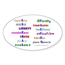 Liberal Values Oval Decal