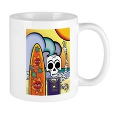 Day of the Dead Skeleton Surfer Small Small Mug
