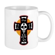 Day of the Dead Black Crucifix Mug