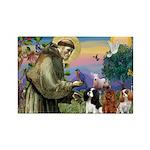 St Francis/Cavalier Trio Rectangle Magnet (10 pack