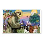 St Francis/Cavalier Trio Rectangle Sticker