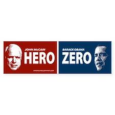 Hero or Zero Anti Obama Bumper Bumper Sticker