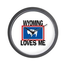 Wyoming Loves Me Wall Clock