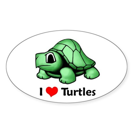 I Love Turtles Oval Sticker
