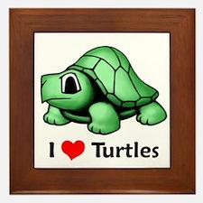 I Love Turtles Framed Tile
