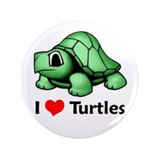 "I Love Turtles 3.5"" Button"