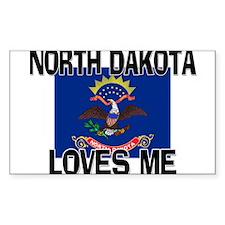 North Dakota Loves Me Rectangle Decal