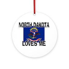 North Dakota Loves Me Ornament (Round)