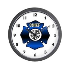 Fire Chief Gold Maltese Cross Wall Clock