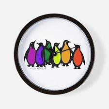 Gay Pride Rainbow Penguins Wall Clock