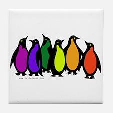 Gay Pride Rainbow Penguins Tile Coaster