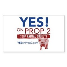 YES ON PROP 2 Rectangle Decal