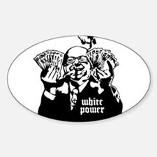 White Power Oval Decal