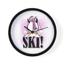 Penguin Ski Wall Clock