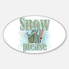 Snow Please Ski Oval Decal