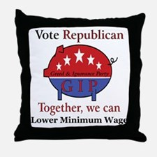 Wage Pig Throw Pillow