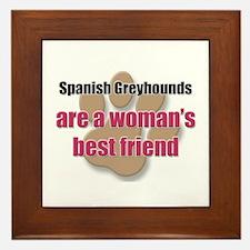 Spanish Greyhounds woman's best friend Framed Tile
