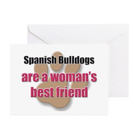 Spanish Bulldogs woman's best friend Greeting Card