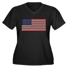 American Cloth Flag Women's Plus Size V-Neck Dark