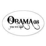 Obama Yes We Can Oval Sticker (10 pk)