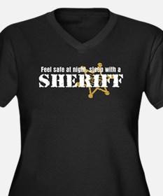 Feel Safe With A Sheriff Women's Plus Size V-Neck