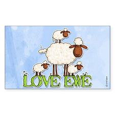 love ewe Rectangle Decal
