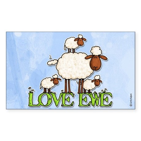 love ewe Rectangle Sticker