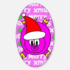 Christmas Pig Oval Decal