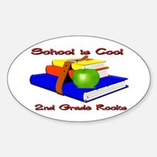 School's Cool 2nd Grade Rocks Oval Decal