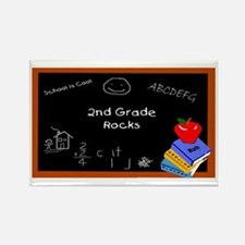 Chalk Board 2nd Grade Rectangle Magnet