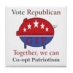 Patriotic Pig Tile Coaster
