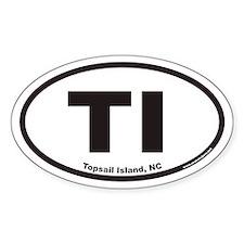 Topsail Island TI Euro Oval Decal