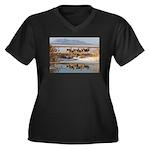 Cluster Women's Plus Size V-Neck Dark T-Shirt
