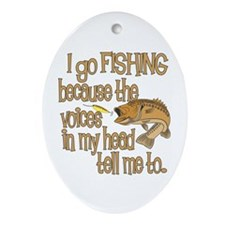 Fish - Voices in my head Ornament (Oval)